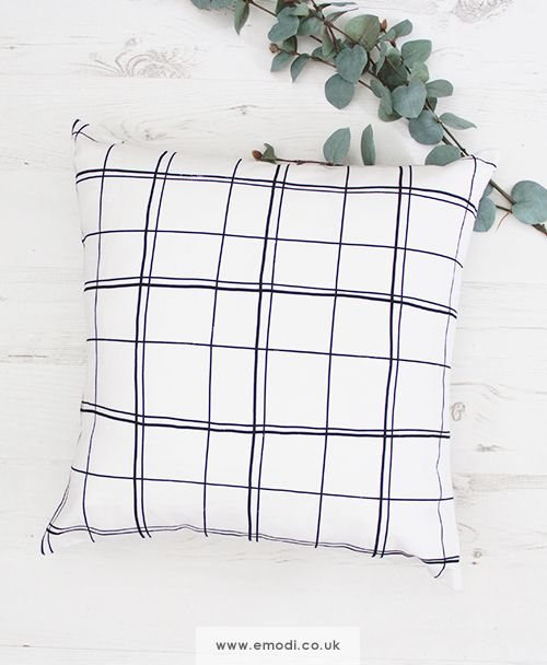 Monochrome minimalist cushion pillow with checks grid patter, great for scandinavian interior sofa