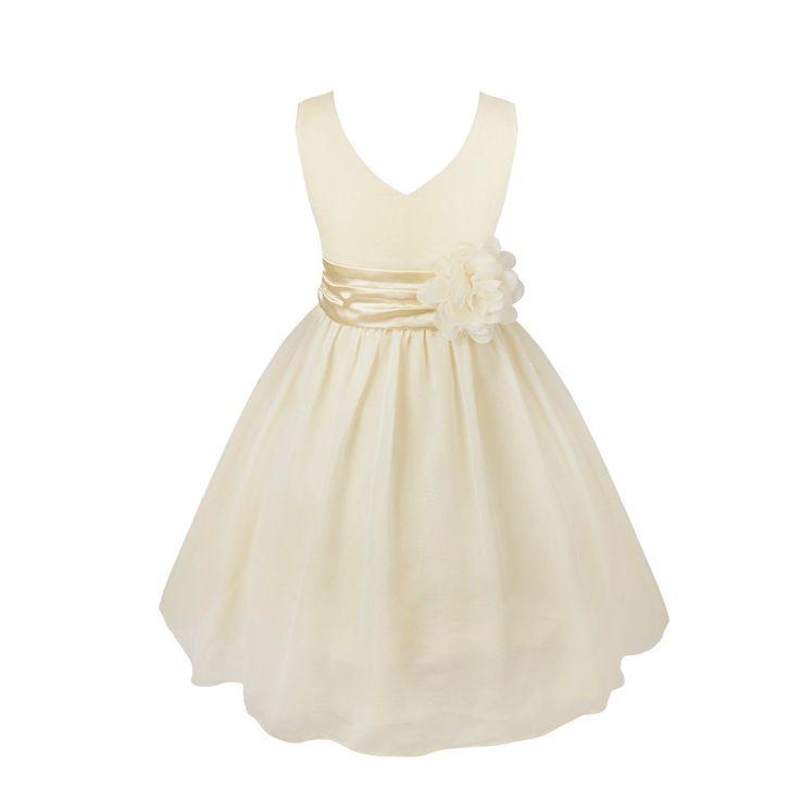 YiZYiF Fille Robe Sans Manches V cou Mousseline de Soie Demoiselle Enfant Fleur à Taille 2-14 Ans Beige 11-12 ans
