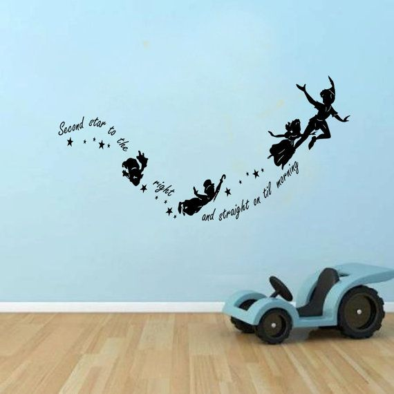 Peter Pan Second Star to the right Kids Wall Decal Sticker Vinyl 100x55