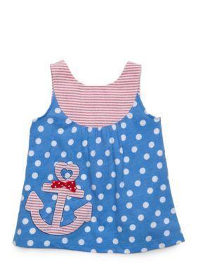 Nursery Rhyme Blue Bow Back Babydoll Top