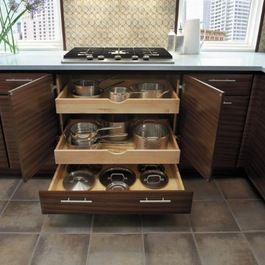 Drawers to keep pans organized