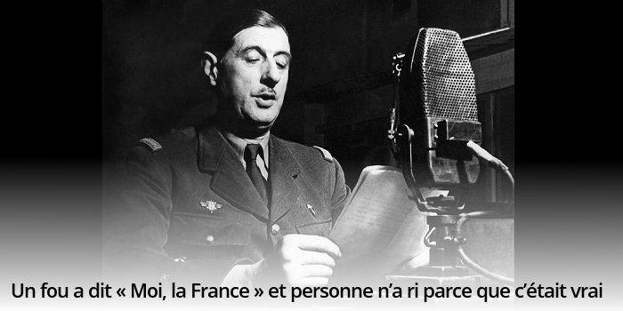 Superbe citation de Mauriac sur Charles de Gaulle en 1940, seul et contre le destin, qui refuse la défait