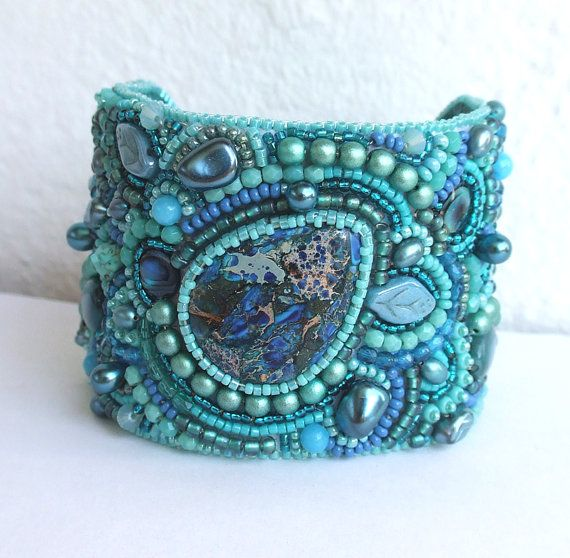 Bead Embroidery Bracelet Cuff Swarovski Crystals Beaded Jewelry Turquoise Bracelet Spring Fashion
