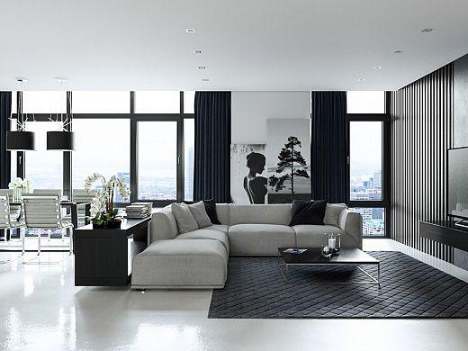 Черно-белый гламур своими руками Перенесите старый добрый черно-белый фильм в ваш дом. Если вы не знаете какой цвет выбрать для своей гостиной выбирайте беспроигрышный вариант из черно-белого набора. Контраст всегда будет в тренде и сделает ваш дом стильным.