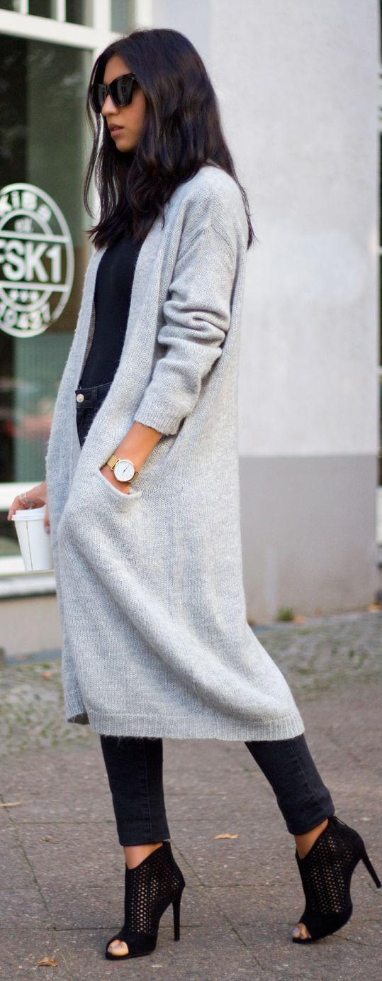 Daily New Fashion : Grey Long Cardigan for Winter and Fall