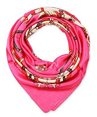 "corciova Elegant Women's Neckerchief Silk Feeling Satin Square Scarf Wrap 35"" Deep Pink $9.99 Free Shipping"