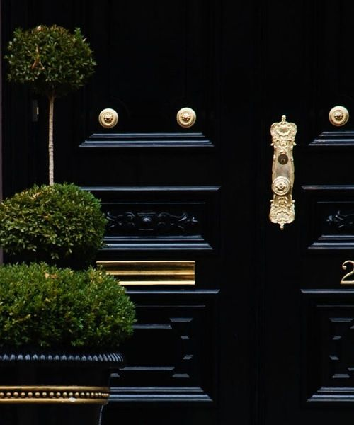 Front door in high gloss black paint and bright brass hardware. Very inviting, nice clean look.