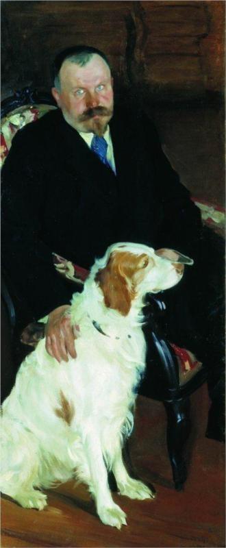 Portrait of Dr. S. Y. Lyubimov with dog - Boris Kustodiev, 1905