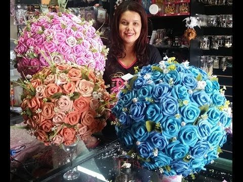 Arranjo de Rosas em EVA - Topiaria - YouTube
