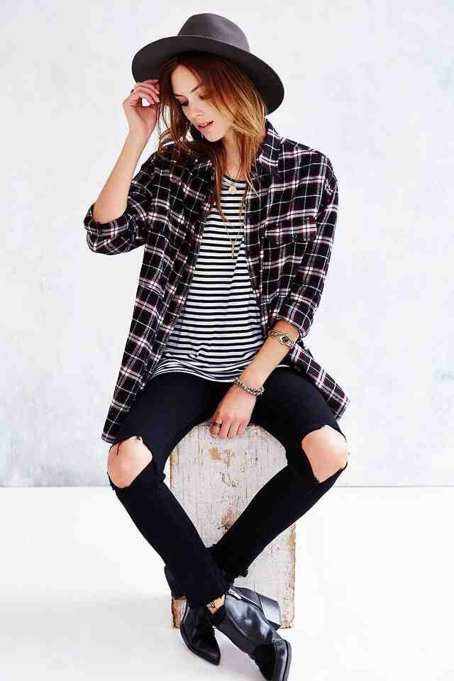 Flannel with striped shirt with oversized hat