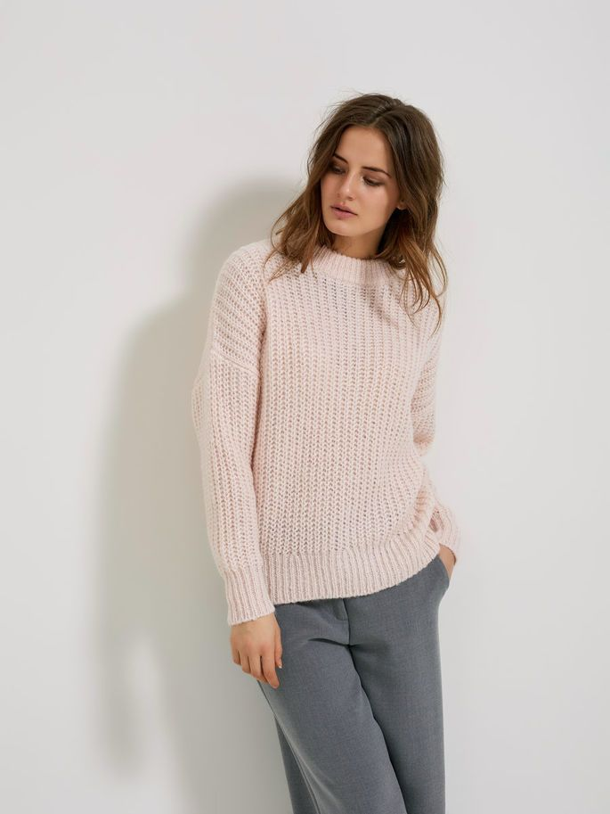 MOHAIR MIX - STRIKKET PULLOVER, Heavenly Pink, large