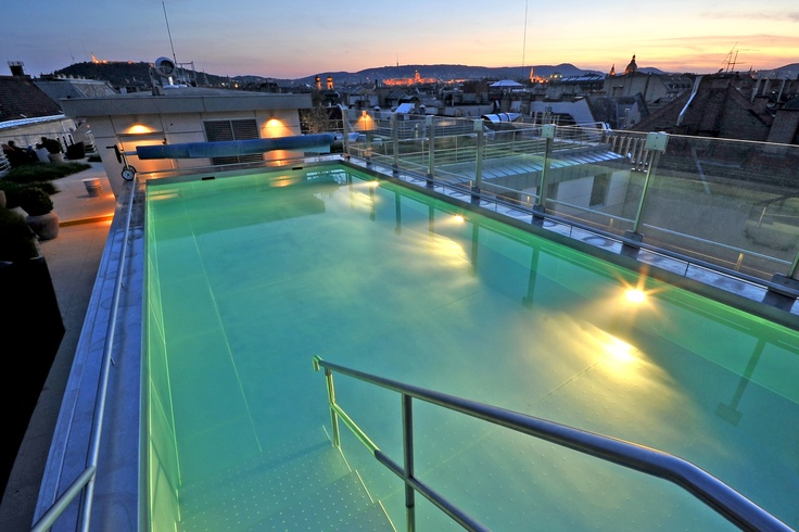 Outdoor swimming pool with Budapest panorama