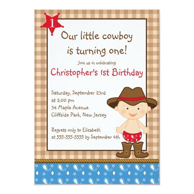 Niedliche kleine Cowboy-Geburtstags-Party Einladungen | Zazzle
