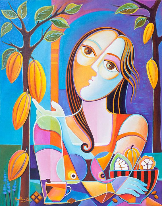 Large Original Painting Cubism Abstract Oil on canvas 22x28 Marlina Vera The Chocolatier Contemporary Modern Fine Art Gallery Picasso Style