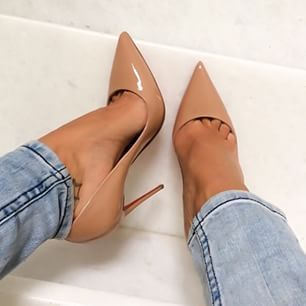 Heels that show the beginning of your toes are very trendy at the moment.