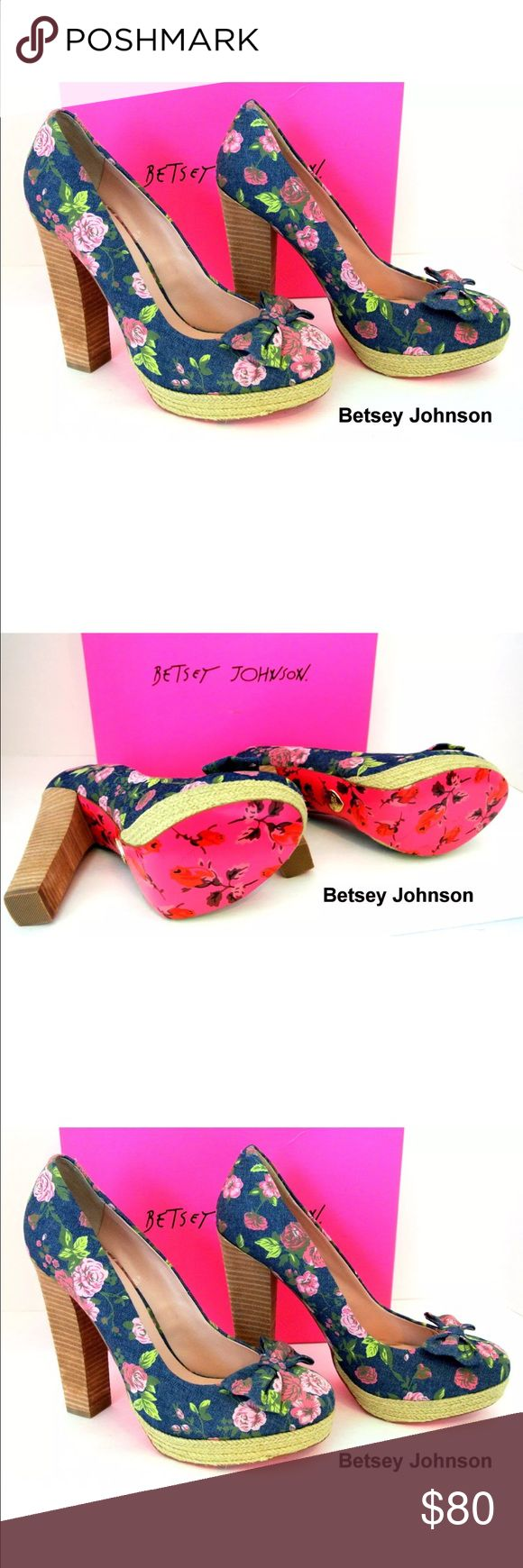 Betsey Johnson Pink Floral Denim Heel Platforms 10 Betsey Johnson Pink Floral Denim Heel Platforms SZ 10, Box not included. Betsey Johnson Shoes Platforms