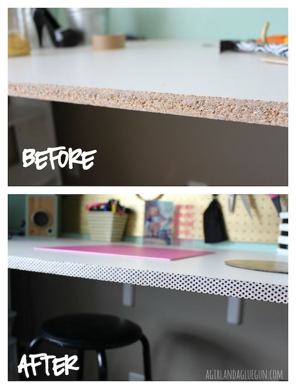 Dress up your desk edge with washi tape - This would be cool on the raw edge of my paper holder