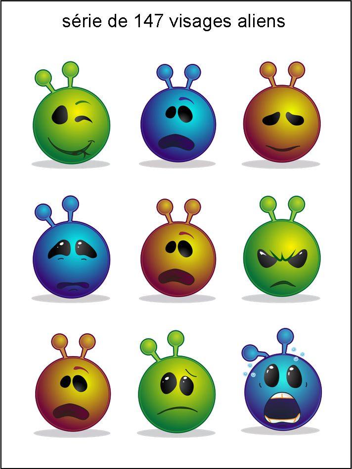 AB - collection de visages alien bleu vert or  - smiley émoticône clipart cartoon - téléchargement gratuit et sans inscription