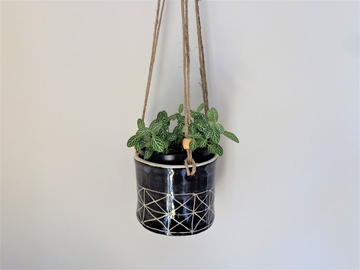 Small black sgrafitto textured hanging planter, rustic round indoor or outdoor hanging planter pot, home garden patio verandah decor by MonikaWithaKCeramics on Etsy