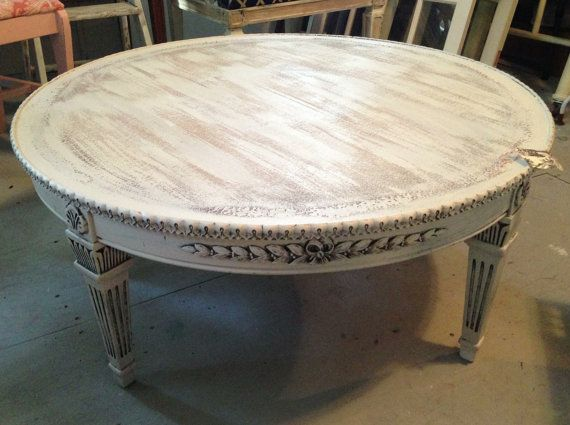 Round coffee table shabby white ivory distressed finish for Round weathered coffee table