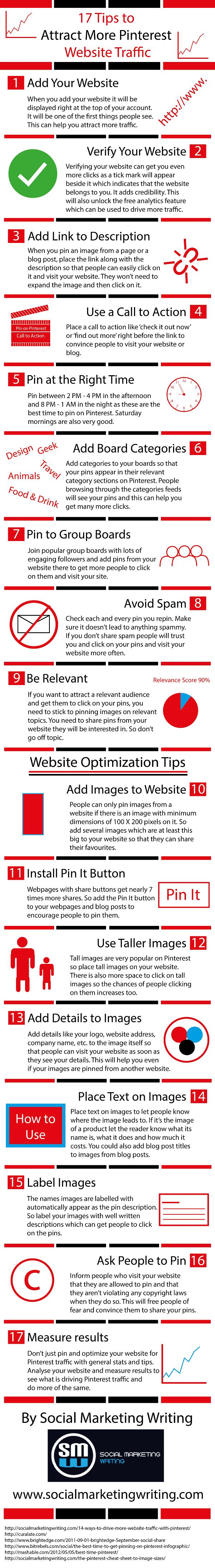 17 Tips to Attract More Pinterest Website Traffic [Infographic] http://socialmarketingwriting.com/17-tips-attract-pinterest-website-traffic-infographic/