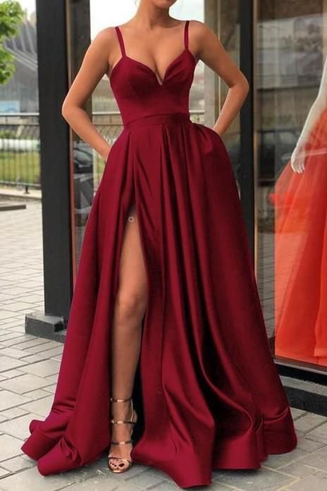 High Thigh Slit Burgundy Formal Prom Dresses with Double Straps – Evening Dresses