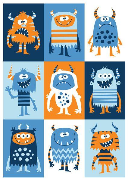 Nursery art boy boys monster print monster by BubbleGumYears