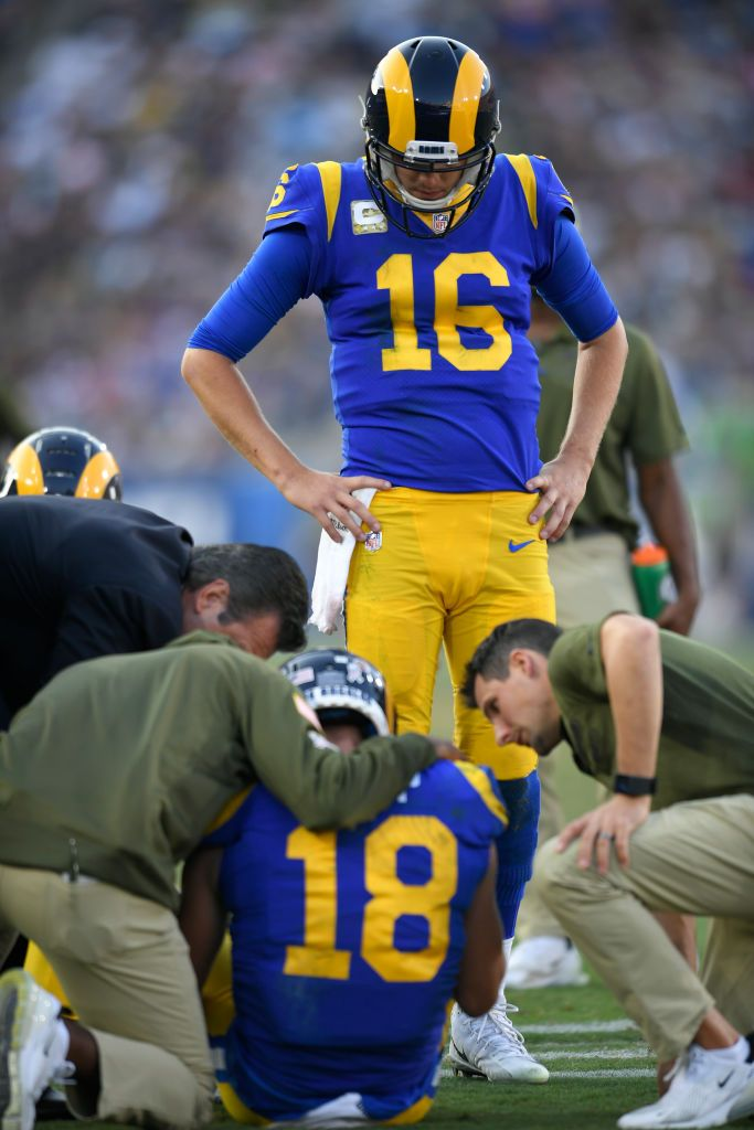 Jared Goff Looks At An Injured Cooper Kupp Of The Los Angeles Rams Los Angeles Rams Seattle Seahawks Goffs