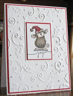 """The red trim is a really nice touch.  Could use this technique for lots of """"white on white"""" embossed cards."""