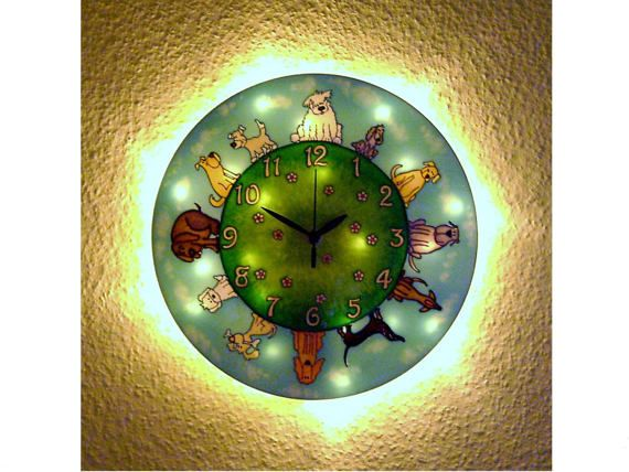 Dog Silent, Light-up Wall Clock, Happy Dog Lighted Wall Clock, Funny wall clock, Dog Home decor, Kids room, Kids Clock,  Nursery Decor