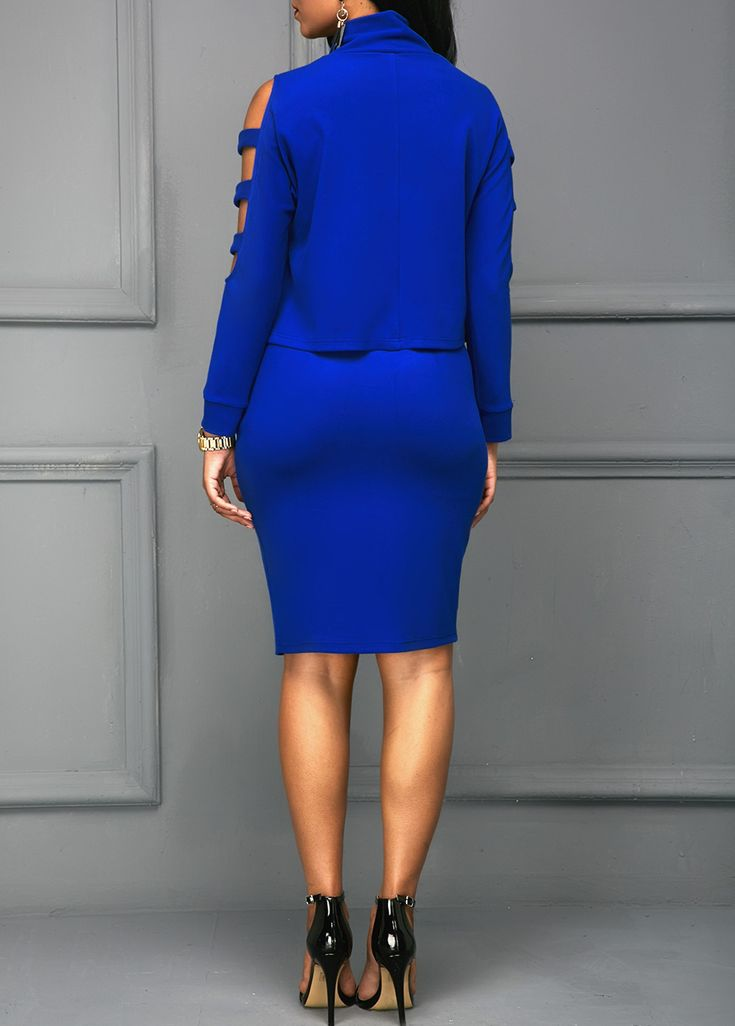 Ladder Cutout Sleeve Royal Blue Top and Skirt on sale only US$35.37 now, buy cheap Ladder Cutout Sleeve Royal Blue Top and Skirt at liligal.com
