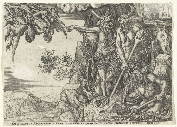 Anonymous | De rijke man door duivels naar de hel gevoerd, Anonymous, 1554 - 1610 | Drie duivels staan bij de ingang van de hel in een rots, drie andere komen aanvliegen met de rijke man. Onder de voorstelling de tekst: Divitem epulonem apud inferos sepultum hec tabella refert Luc 16. Vierde prent uit een serie van vijf kopieën.