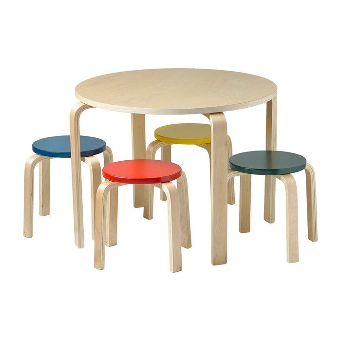 Bentwood Kids 5 Piece Round Table And Chair Set Round Table And