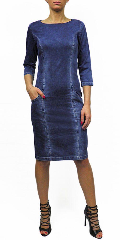 Damen Jeans Kleid Tunika Mit Taschen Modell 692.5 | eBay