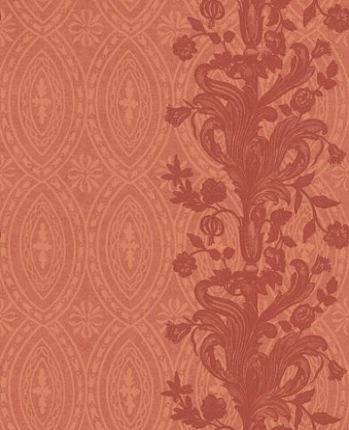 Chantemerle (ZCHP01003) - Zoffany Wallpapers - An enlarged section of cross-hatched arabesque leaves against a patterned ground – which gives a contemporary stripe effect.  Background design available separately. Shown in shades of soft red. Please ask for sample for true colour match.