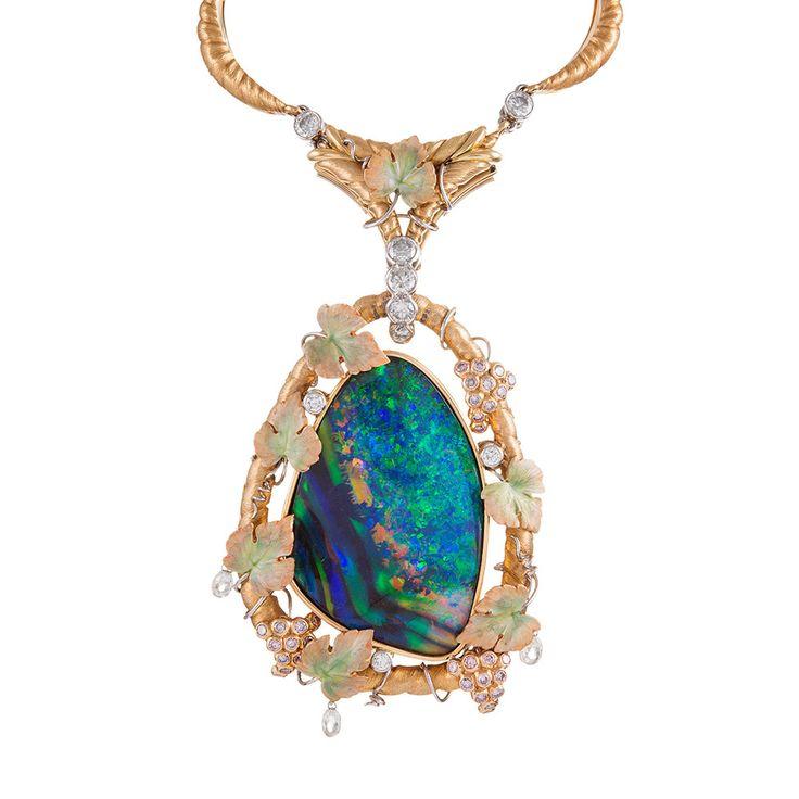 Black Opal, Pink & White Diamond 18K Gold Necklace