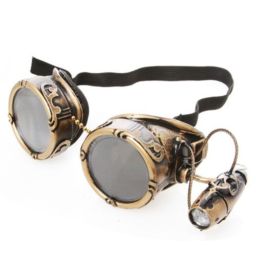 Aeronautical Couture Steampunk Goggles (With Light).