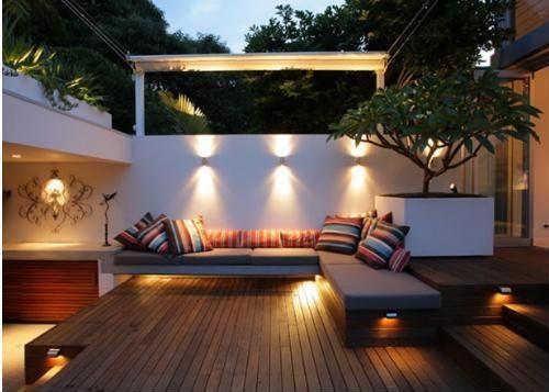 Lights and decks | Courtyard garden in Randwick, Australia | by Secret Gardens - secret light snug space-just beautiful