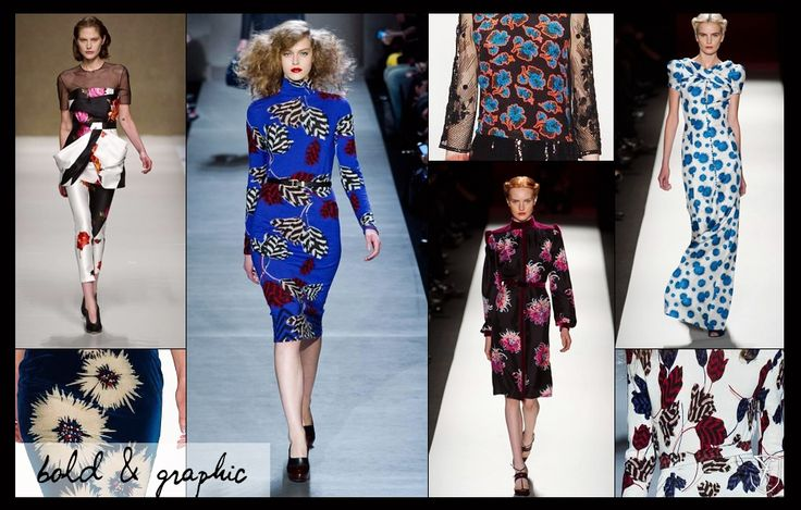 Mood board: bold, graphic #floral #prints.  Inspiration on wearing #florals in #fashion for fall / winter.