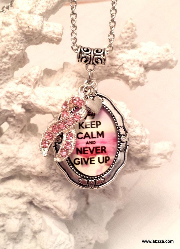 Keep Calm and Never Give Up - BCA Inspirational necklace by abzzadesigns on Etsy