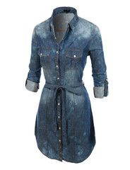 I don't especially like this denim, but I would like this type of style over moderately skinny pants for work???????LE3NO Womens Classic Long Sleeve Button Down Chambray Denim Dress
