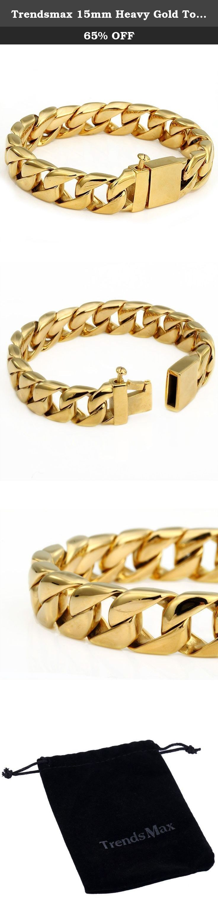 Trendsmax 15mm Heavy Gold Tone Round Curb Link Chain Mens Jewelry 316L Stainless Steel Bracelet. Trendsmax Heavy 15mm Mens Jewelry Chain Curb Link Silver Tone 316L Stainless Steel Bracelet,Material is 316L Stainless Steel,High Quanlity! Perfect Gift for Father's Day, Christmas Gift.