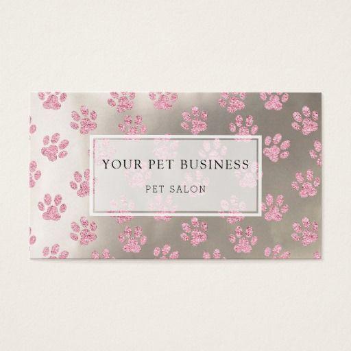 pink pet paw prints on silver pet salon