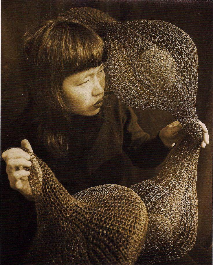 Ruth Asawa holding a form-within-form sculpture | 1952.: Ruthasawa, Artists Studios, Asawa Holding, 1952 Photographers, Wire Sculpture, Form Within Form Sculpture, Ruth Asawa, Imogen Cunningham, Photography
