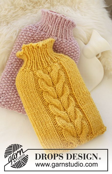 "Christmas gift idea for #grandma: Knitted DROPS cover for hot-water bottle in ""Eskimo"". ~ DROPS Design"