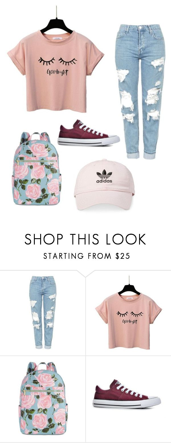 """My First Polyvore Outfit"" by adoranyable ❤ liked on Polyvore featuring Topshop, ban.do, Converse and adidas"