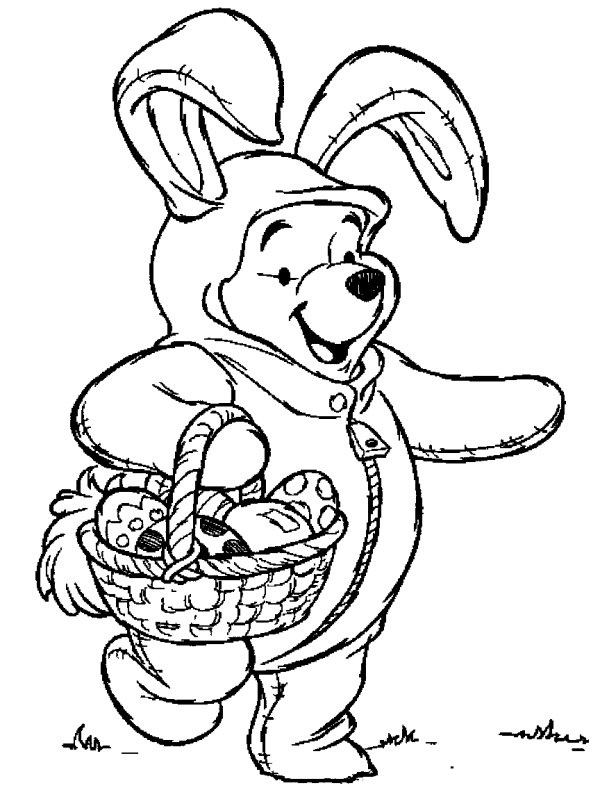 winnie the pooh in a rabbit costume coloring page from winnie the pooh category select from 26077 printable crafts of cartoons nature animals