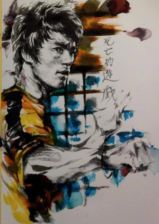 Bruce Lee. Wish I knew who the artist was... #GymArt