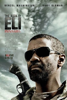 THE BOOK OF ELI (2010) A post-apocalyptic action film starring Denzel Washington. The story revolves around Eli, a nomad in a post-apocalyptic world, who is told by a voice to deliver his copy of a mysterious book to a safe location on the West Coast of the United States. The history of the post-war world is explained along the way, as is the importance of Eli's task.