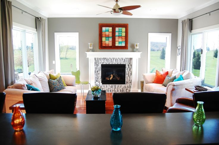 Hearth Room With Gray And White Mosaic Tile Fireplace And